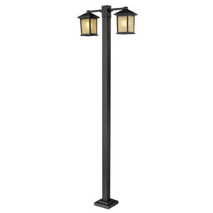 Holbrook Two-Light Oil Rubbed Bronze Double-Head Outdoor Post with Tinted Seedy Glass Panels