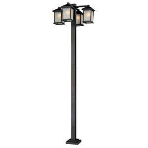 Holbrook Four-Light Black Four-Head Outdoor Post with White Seedy Glass Panels