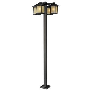 Holbrook Four-Light Oil Rubbed Bronze Four-Head Outdoor Post with Tinted Seedy Glass Panels