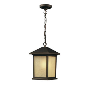 Holbrook Oil Rubbed Bronze One-Light Outdoor Pendant with Beige Tinted Seedy Glass