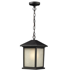 Holbrook Black 8-Inch Outdoor Pendant with White Seedy Glass