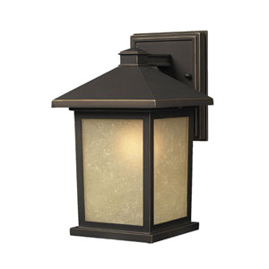 Holbrook Olde Rubbed Bronze 14-Inch Outdoor Wall Light with Beige Seedy Glass