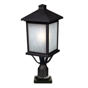 Holbrook Black One-Light 9-Inch Outdoor Pier Mount with White Seedy Glass