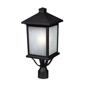 Holbrook Black One-Light Outdoor Post Mount with White Seedy Glass