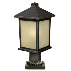 Holbrook Olde Rubbed Bronze One-Light 9-Inch Outdoor Pier Mount with Beige Seedy Glass