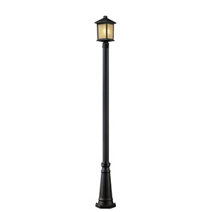 Holbrook One-Light Oil Rubbed Bronze Outdoor Post Light with Tinted Seedy Glass Panels