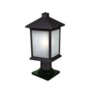 Holbrook One-Light Medium Black Outdoor Pier Mount Light with White Seedy Glass Panels