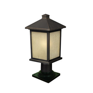 Holbrook One-Light Medium Oil Rubbed Bronze Outdoor Pier Mount Light with Tinted Seedy Glass Panels