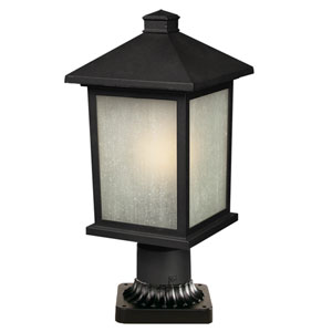 Holbrook Black 14-Inch Outdoor Post Light with White Seedy Glass