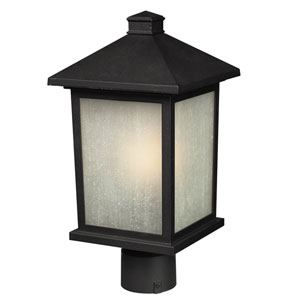Holbrook Black 12-Inch Outdoor Post Light with White Seedy Glass