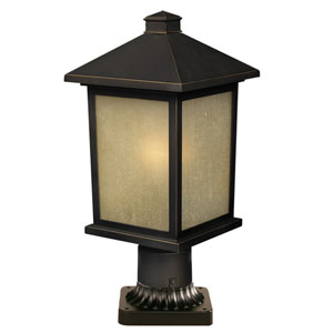 Holbrook Olde Rubbed Bronze 14-Inch Outdoor Post Light with Beige Seedy Glass
