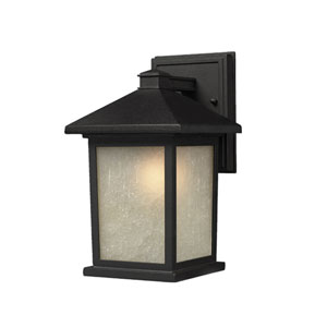 Holbrook Black Outdoor Wall Light with White Seedy Glass