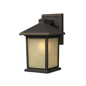 Holbrook Olde Rubbed Bronze 10-Inch Outdoor Wall Light with Beige Seedy Glass