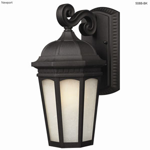 Newport One-Light Black Outdoor Wall Light with White Seedy Glass Panels