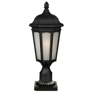 Newport Black One-Light 11-Inch Outdoor Pier Mount with White Seedy Glass