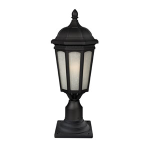 Newport One-Light Black Medium Outdoor Pier Light with White Seedy Glass Panels