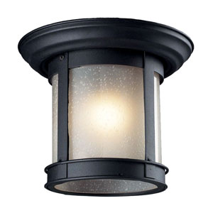 Black One-Light Outdoor Flush Mount with Frosted Seedy Glass