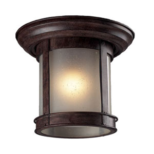 Weathered Bronze One-Light Outdoor Flush Mount with Frosted Clear Seedy Glass