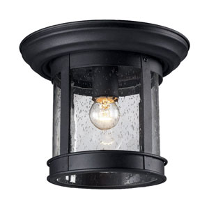 Black One-Light Outdoor Flush Mount with Clear Seedy Glass