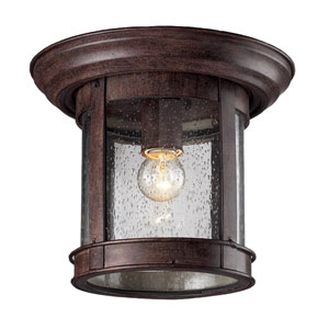Weathered Bronze One-Light Outdoor Flush Mount with Clear Seedy Glass