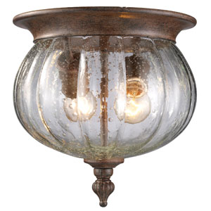 Belmont Weathered Bronze Two-Light Outdoor Flush Mount