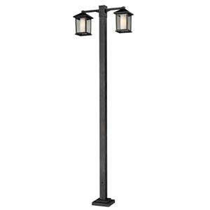 Mesa Two-Light Black Double-Head Outdoor Post Light