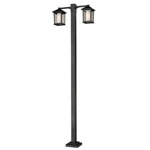 Mesa Two-Light Black Double-Head Outdoor Post Light