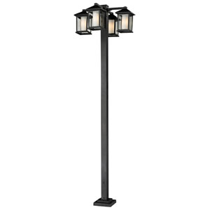 Mesa Four-Light Black Four-Head Outdoor Post Light