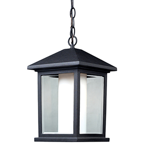 Mesa Black One-Light Outdoor Chain Hung Pendant with Clear Beveled Glass