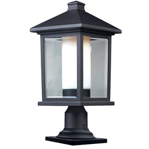 Mesa One-Light Large Black Outdoor Pier Mount