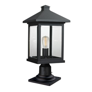 Portland Black 20-Inch One-Light Outdoor Pier Mount
