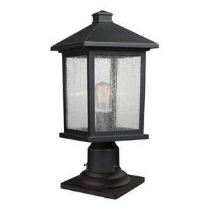 Portland Oil Rubbed Bronze 18-Inch One-Light Outdoor Pier Mount Light