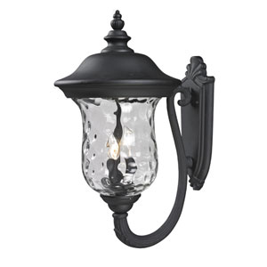 Armstrong Three-Light Black Outdoor Large Upward Wall Lantern with Clear Waterglass