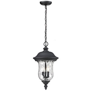 Armstrong Three-Light Black Outdoor Chain Pendant Light