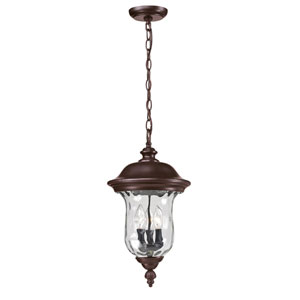 Armstrong Three-Light Rubbed Bronze Outdoor Chain Pendant Light