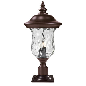 Armstrong Three-Light Rubbed Bronze Large Outdoor Pier Mount Light