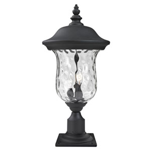 Armstrong Two-Light Black Outdoor Pier Mount Light with Clear Waterglass