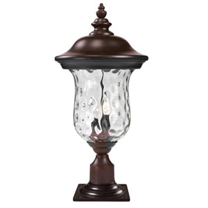 Armstrong Two-Light Rubbed Bronze Outdoor Pier Mount Light with Clear Waterglass
