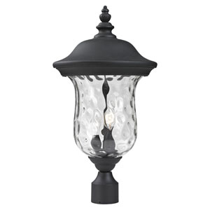 Armstrong Two-Light Black Outdoor Post Mount Light with Clear Waterglass