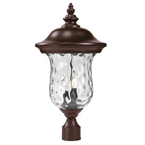 Armstrong Two-Light Rubbed Bronze Outdoor Post Mount Light with Clear Waterglass