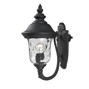 Armstrong Two-Light Black Outdoor Small Wall Lantern with Clear Waterglass