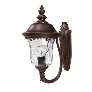 Armstrong Two-Light Rubbed Bronze Outdoor Small Wall Lantern with Clear Waterglass