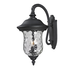 Armstrong Three-Light Black Outdoor Large Downward Wall Lantern with Clear Waterglass