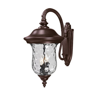 Armstrong Three-Light Rubbed Bronze Outdoor Large Downward Wall Lantern with Clear Waterglass