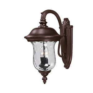 Armstrong Two-Light Rubbed Bronze Outdoor Medium Wall Lantern with Clear Waterglass