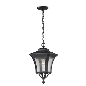 Waterdown One-Light Sand Black Outdoor Chain Pendant Light with Clear Seedy Glass