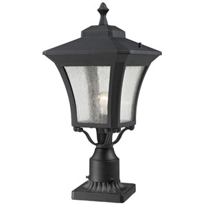 Waterdown One-Light Sand Black Outdoor Pier Mount Light