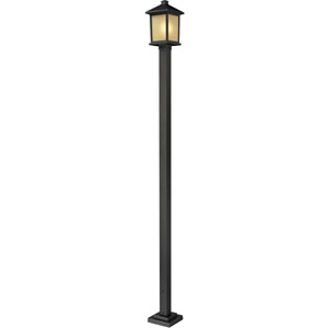 Holbrook One-Light Large Oil Rubbed Bronze Outdoor Post Light with Tinted Seedy Glass Panels