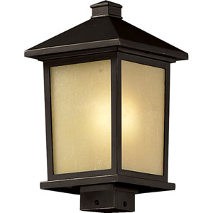 Holbrook One-Light Large Oil Rubbed Bronze Outdoor Post Mount Light with Tinted Seedy Glass Panels