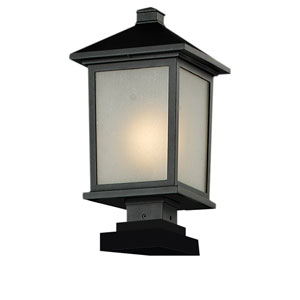 Holbrook One-Light Large Black Outdoor Pier Light with White Seedy Glass Panels